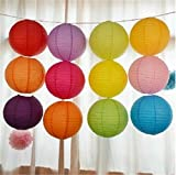 ROYALS Hanging Lantern Rice Paper Ball Lamp Shade (12inch, Mix Colour) - Pack