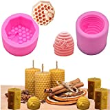 Stampi 3D a nido d'ape, stampi in silicone per candele, sapone, candele, sapone, cioccolato, caramelle, decorazione torte per compleanno, matrimonio, Halloween, regalo fai da te, confezione da 2