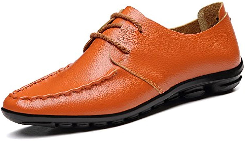 Talla Grande Zapatos Casuales de Cuero Suave de Verano para Hombres Zapatos de Conducción Juvenil Calzado General