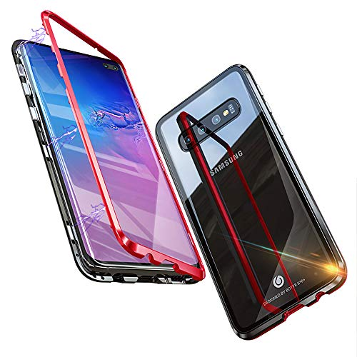 Feitenn Kompatibel mit S10 Plus Hülle, S10 Plus Case Metall Transparent Clear Gorilla Tempered Glass Back Cover Metal Frame Strong Magnetic Absorption Bumper Shell für Samsung Galaxy S10 Plus, rot
