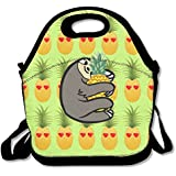 Pineapple Emoji Heart And Love Eye Sloth Pineapple Lunch Tote Bag Zipper Reusable Tote Handbag With Shoulder Strap