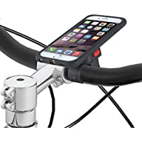 Tigra Sport MCBIKEIP6 MountCase Cycling Bike Kit Including MountCase, Waterproof Rain Guard and Handlebar Mount Strap Compatible with iPhone 6/6S - Black