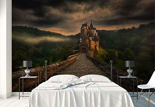 Vlies Fototapete Fotomural - Wandbild - Tapete - Cobblestone Gehen Weg Alte Burg - Thema Architektur - XL - 368cm x 254cm (BxH) - 4 Teilig - Gedrückt auf 130gsm Vlies - 1X-1182027V8 -
