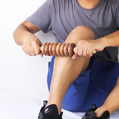 cgdiaoju 8Rollen Hals, Rücken Bein Roller Massagegerät Hand Held Holz Massage Stick