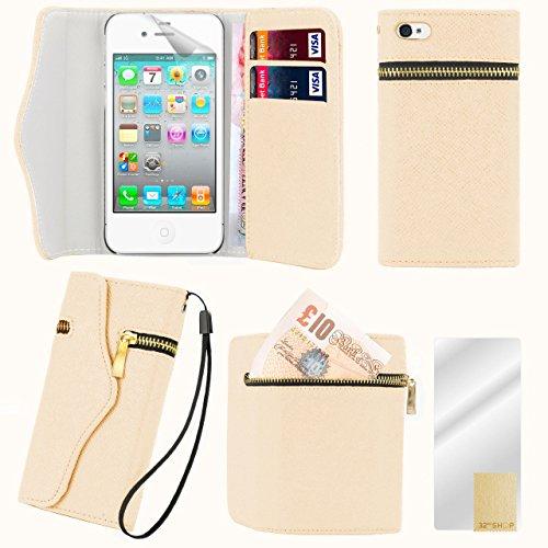 32nd Étui portefeuille en cuir PU pour iPhone 4 4S avec protecteur décran et chiffon de nettoyage - Zip wallet - Crème Zip wallet - Crème