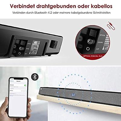 Barre de son avec Subwoofer, ABOX Barre de son pour TV 34 Pouces 120W 2.1 Canal Haut-Parleur, Wireless & Wired Bluetooth 4.2 Soundbar, Son Surround Home Cinéma, Commande Tactile et à Distance de ABOX