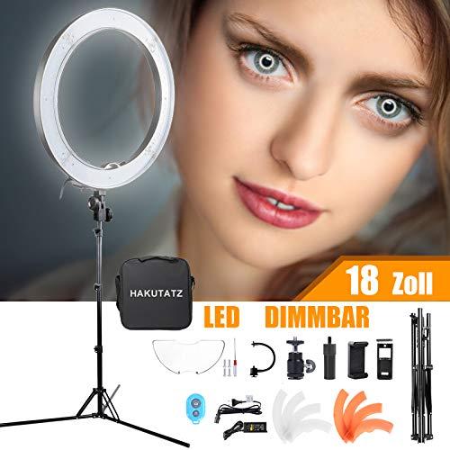 HAKUTATZ 18 Zoll/ 48cm 55W 3200K-5600K mit Stativ LED Ringleuchte Ringlicht Dauerlicht für Video und Foto (18-Zoll)