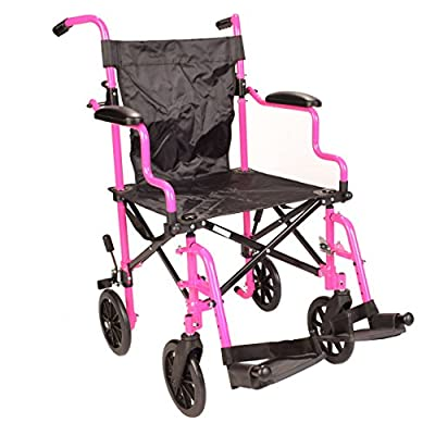 Pink Ultra Lightweight Folding Travel Compact Aluminium Wheelchair in a Bag