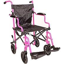 Rosa Ultra ligero plegable viaje compacto aluminio silla de ruedas en una bolsa