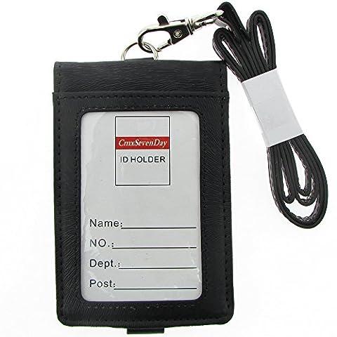 Cmxsevenday A7912 Folding Le Cuir Artificiel Badges d'identification, Style Verticale - Noir