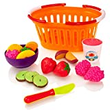 Milly & Ted Fruit Basket Soft Play Food Set - Childrens Pretend Kitchen Toy