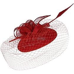 GEMVIE Tocado de Plumas Flores Ladies Sombrero Boda Cóctel Novia Headwear Rojo