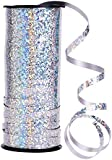 Outus crimped curling ribbon roll silver balloon ribbons for parties, festival, florist, crafts and gift wrapping
