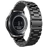 Samsung Gear S3 Reloj Correa, Simpeak Acero inoxidable Banda de reemplazo Tres Hebilla de cuentas Diseño Correa para Samsung Gear S3 Classic / Frontier - Negro