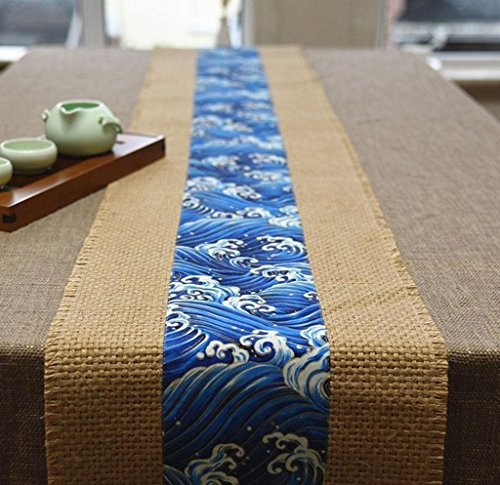 thnischen Stil TischläUfer Handgemachten Sackleinen Tischset Tee Tisch Kissen Einfache Leinen Tischdecke Blau, 30 * 180cm ()