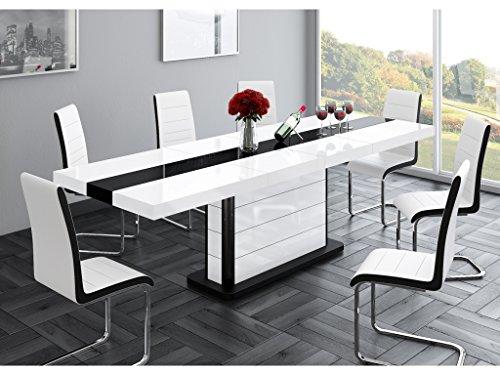 H MEUBLE Table A Manger Design Extensible 160÷210 CM X P : 89 CM X H: 75 CM - Blanc/Noir