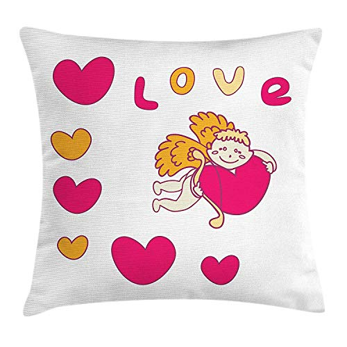ERCGY Love Throw Pillow Cushion Cover, Cartoon Drawing Style Cupid Hugging a Heart with The Letters of Love Mythological, Decorative Square Accent Pillow Case, 18 X 18 Inches, Marigold Pink