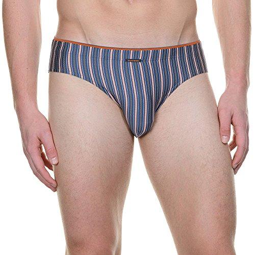 Bruno Banani Herren Slip Sportslip Trapeze, Blau (Denim/Orange Stripes 2044), Medium (Herstellergröße: 5M)