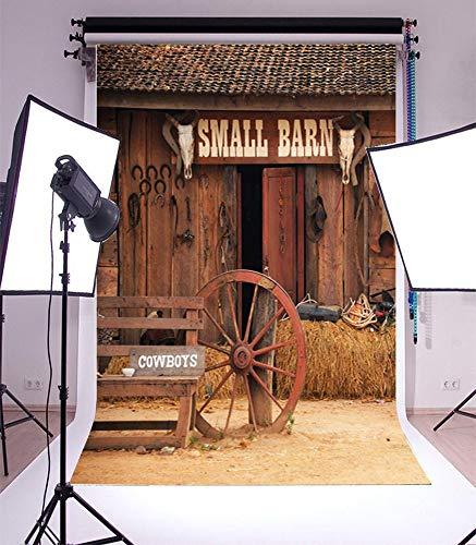 5X7FT vrupi Vinyl Backdrop Photography Background Shabby Small Barn Tools Wheel Cowboy Backdrop Western Retro Rustic House Cowboy Farm Photo Booth Studio Props 1.5x2.2M