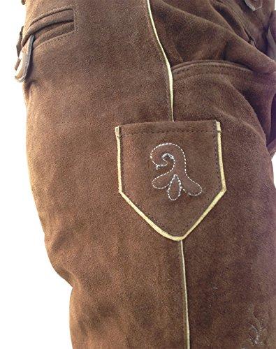 by johanna Trachten-Set komplett für Herren 5-teilig Echte Lederhose (Kniebund, braun mit uriger Stickerei), kariertes Hemd, Haferlschuhe. Bayrische Leder-Hosen-Tracht für Männer zum Oktoberfest 62 - 3