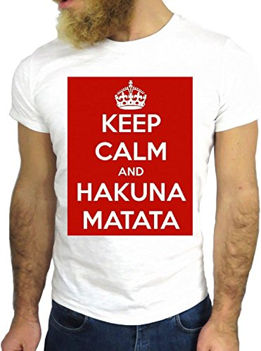 T SHIRT JODE Z2785 KEEP CALM AND HAKUNA MATATA JUNGLE FUN NICE COOL GGG24 BIANCA - WHITE M