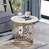 Willesego Tisch Jcnfc, Runder Couchtisch Wohnzimmer Betttisch mit Regal Marmorplatte/Massivholzplatte (Farbe: Marmorplatte) (Farbe : Solid Wood Countertops, Größe : -)