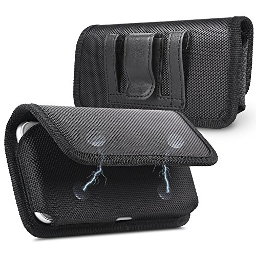iNNEXT iPhone 8 Plus 7 Plus Gürtelclip Case, Compatible with Galaxy S9 Plus Plus Size Gürtel Tasche Oxford horizontalen Fall w/Gürtelschlaufe für Apple 8 Plus 6 s Plus 7 Plus,Schwarz (Iphone 4 Tasche Mit Gürtel-clip)