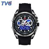 Easy Go Shopping Sehen Sie Männer Military Watch Double Show Leuchtende Wasserdichte Herrenuhr Sport Elektronische Uhr Quarzuhr (Color : 1)