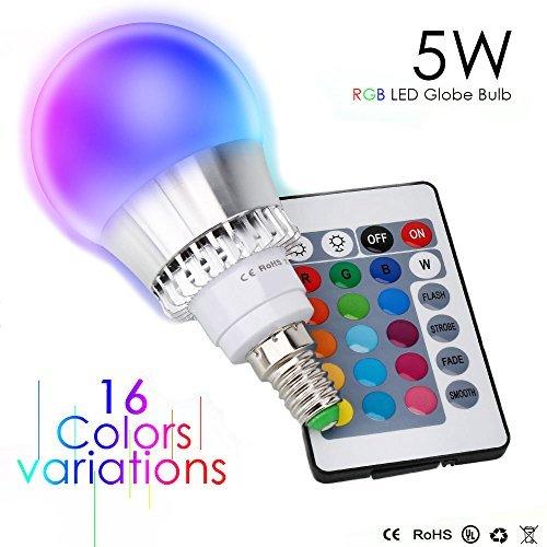 Esbaybulbs Colores cambiante Led E14 5W, RGBW LED Bombilla 16 Color Cambiantes Lámpara con Mando a Distancia, Múltiples Colores Regulable Cambio de Color iluminación Decoración para Casa Bar Fiesta KTV