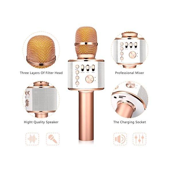 Bluetooth microfono Karaoke, nasum senza fili 4.1 Speaker della macchina per voce e canto registrazione, per adulti e bambini compatibile con Android/iOS, PC o all smartphone