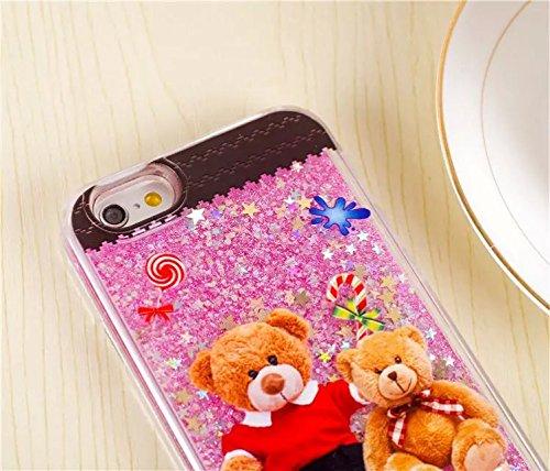 Coque iPhone 6/6S , iNenk® Peinture sable manchon protection mode liquide teinté mouvants Fluorescence créatif Mignon Dessin animé dur PC Téléphone Shell-rose Rose