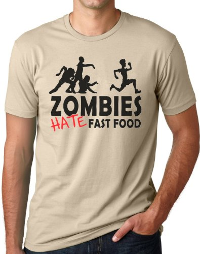 OM3 - Zombies Hate Fast Food II - T-Shirt Horror Splatter Movie Halloween Living Dead Bloody Monster Parodie, 4XL, Khaki