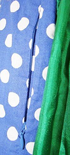 Lekra Dirndl Irina - Blau Grün 55cm - Zauberhaftes Kleid mit Punkten für Damen Blau/Grün