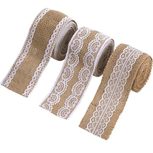 3 Stück Natürlich Leinen Band mit Weiß Spitze für DIY Handgemacht Hochzeit Handwerk Spitze Leinen, 78,7 Zoll pro Stück - Weiße Leinen-band