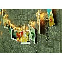 K-Bright 2.2Meter 20 fotos de clip LED luces de cadena para colgar cuadros y baterías Clips de fotos LED de cuerda Luz de Navidad Estrella de luz Luz para el día, Navidad, cumpleaños, fiesta, boda de San Valentín blanco cálido Blanco Cálido
