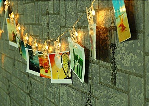 K-bright 220cm 20led luci di natale alimentazione luci led natale per appendere fotos,appunti,arti,bianco caldo foto clip molletta impermeabile luce strisce luce della stringa chiara alimentata a batteria