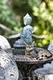 Zen Kitty on  Patio Table with a Buddha Statue in the Garden Journal: 150 Page Lined Notebook/Diary