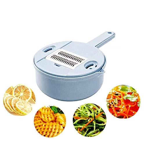 LLYY Gemüseschneider Edelstahl 5 Klingen Obst und Mit Ablaufkorb Zwiebelschneider Käse Cutter Ideal zum Hobeln von Gemüse Gemüsehobel