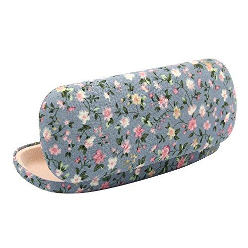 Vococal Portable Hart Floral Print Fabrics Brillenetuis/Anti-Shock Sonnenbrillen Storage Box/Brillen Protector Etui mit Weichem Futter, Blau