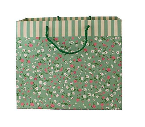 Stabil Geschenktüten 12 Stück Blumen Farbe und Große nach Wahl Geschenktaschen Geschenkbeutel Tüte (27 x 30 x 12 cm grün)