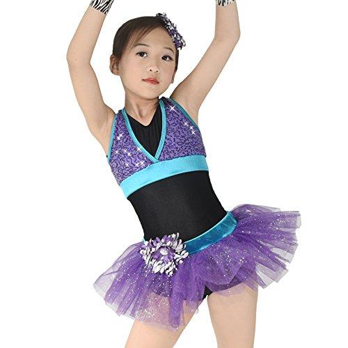 MiDee Tanz Kostüm Turnanzug 6 Stück Pailletten Kleid für Mädchen (Violett, IC) (Ic-weste)