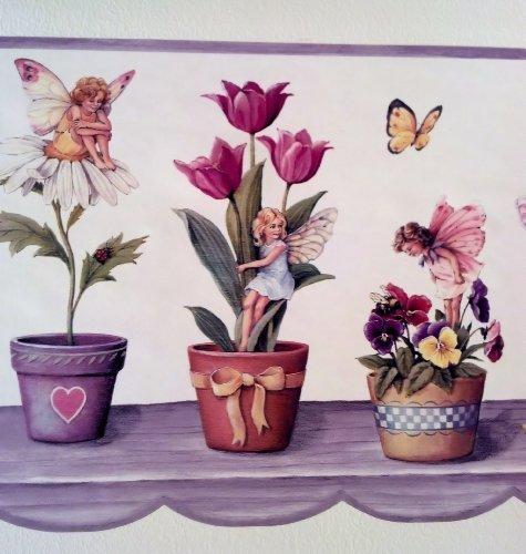 Flowers, Butterflies, Fairies Wallpaper Border - Purple - Sunflowers Tulips Daisies Pansies by Rolling-Borders - Daisy Wallpaper Border