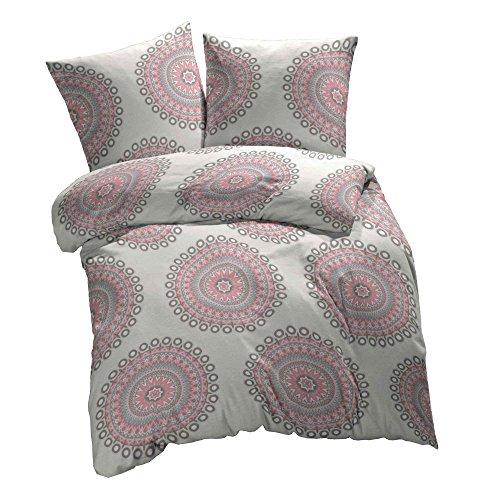 Etérea 2 tlg. Mikrofaser Bettwäsche-Set - Ganzjahres & 4-Jahreszeiten Bettbezug - Mandala Pink, 155x220 + 80x80 cm Pink