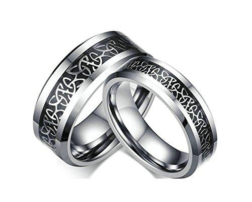 Jiedeng Schmuck Damen Ringe aus Wolframcarbid Ring mit Einfacher Stil Partnerringe Verlobungsringe Ehering Trauringe für Damen-Ring Silber Schwarz Größe 60 (19.1)