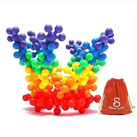 Jouet pour enfants SHAWE, Plus de 90 pièces de molécules puissantes de grosses tailles. Ensembles de construction en plastique, Jeux éducationnels, Jouets de motricité sensoriel, Matériel sécurisé pour les enfants, Package avec sac réutilisable
