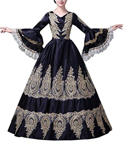 Damen Viktorianisches Kleid mit Krinoline Renaissance mittelalterliche Maxi Palace Royal Masquerade Kostüm (CC3688A-NI, ()
