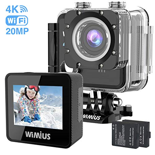 """WiMiUS 4K Action Camera 20MP Unterwasserkameras 30M Helm Cam 170 Grad Weitwinkel 2,0""""LCD-Bildschirm Dual 1000mAh-Batterien mit wasserdichtem Gehäuse und Zubehörset für Motorrad-Motorrad-Tauchen usw."""
