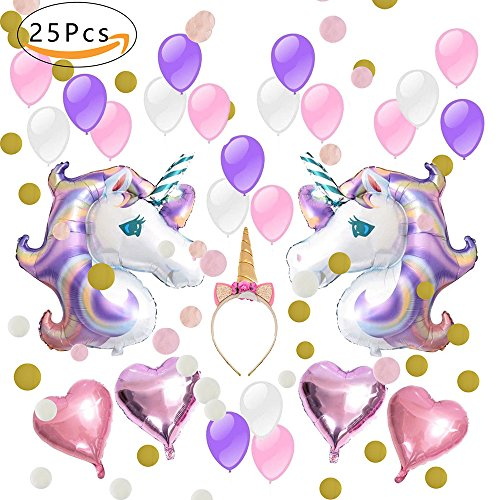 Dekoration Ballons Happy Birthday Party Supplies Wimpel Banner Seidenpapier Pom Rosa Blumen Garland für Mädchen Kinder Kind (Schöne Rosa Lila Thema) (Unicorn Party Supplies)