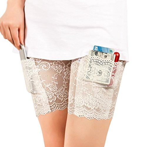(Xidan FM8 Elastisch Weibliches Nicht-Ausrutschen- und friktionsbessbeständiges, Lace mit dünnem Band, Bleibsilikon- Griff& sicherliche Tasche, Handtasche mit Strumpfband(Weiß,S,2Stk))