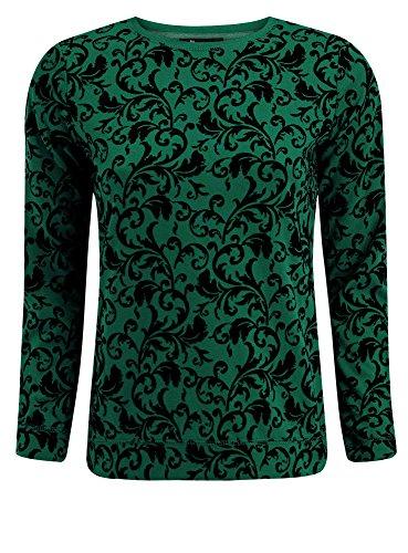 oodji Ultra Damen Sweatshirt mit Flock-Druck, Grün, DE 38 / EU 40 / M